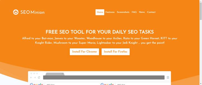 google Chrome extensions of seo minon