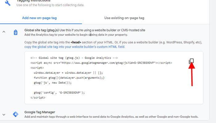Global Site Tag google analytic