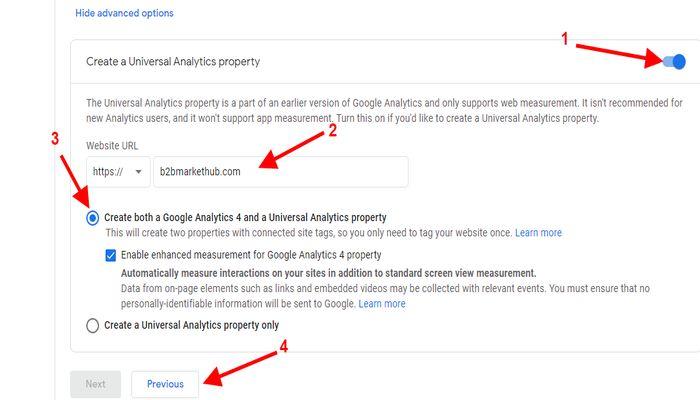 Next generation google analytic account setup