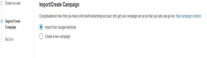 Import or create campaign on bing ads