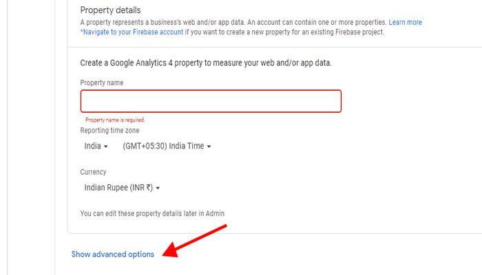 Google Analytic account name set up